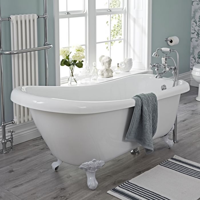 Traditional Acylic Freestanding Slipper Bath Tub 65""