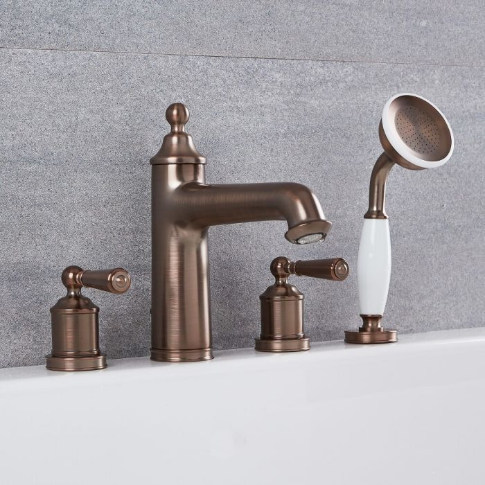 Colworth - Traditional Oil-Rubbed Bronze Roman Tub Faucet with Hand Shower