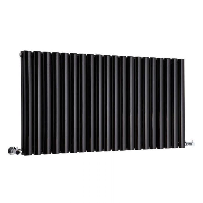 "Revive - Black Horizontal Double-Panel Designer Radiator - 25"" x 46.5"""