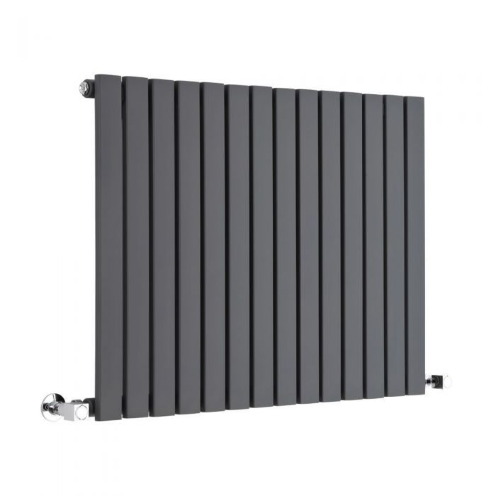 "Sloane - Anthracite Horizontal Single Flat-Panel Designer Radiator - 25"" x 32.75"""