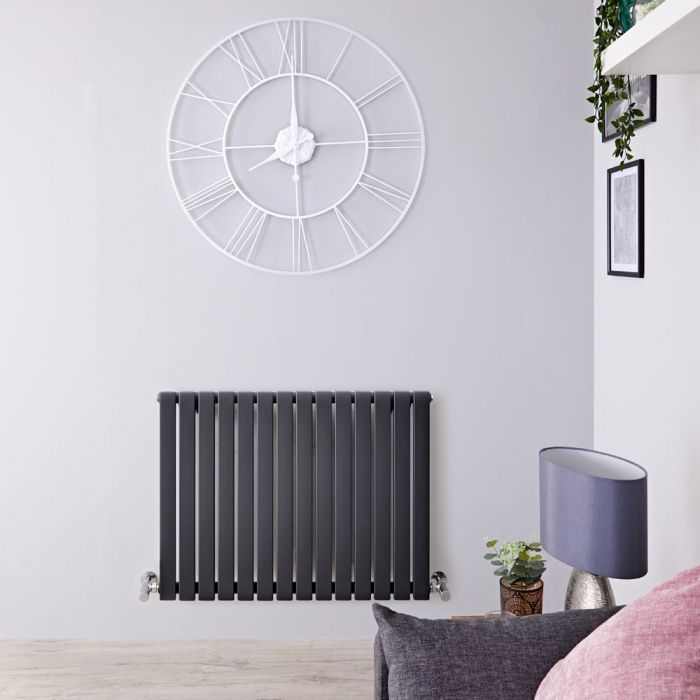 Sloane - Anthracite Horizontal Single Flat-Panel Designer Radiator - 25