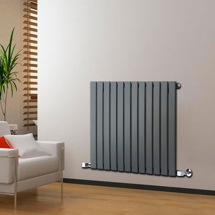 "Delta - Anthracite Horizontal Single Slim-Panel Designer Radiator - 25"" x 33"""