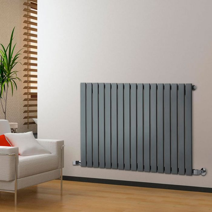 "Delta - Anthracite Horizontal Single Slim-Panel Designer Radiator - 25"" x 46.75"""
