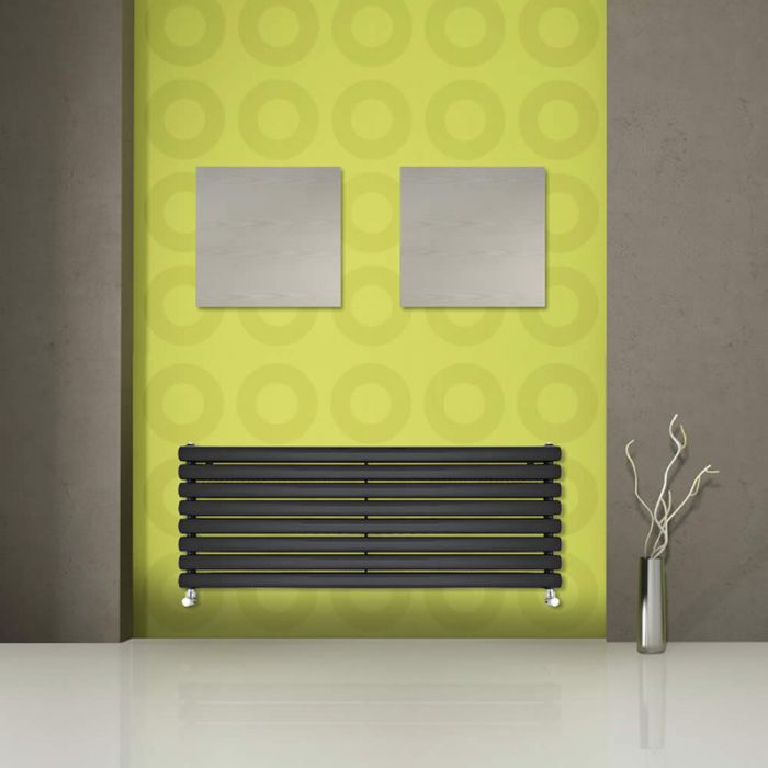 "Revive - Black Horizontal Double-Panel Designer Radiator - 18.5"" x 63"""