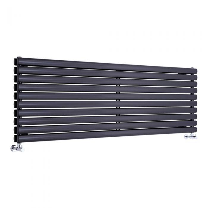 "Revive - Black Horizontal Double-Panel Designer Radiator - 23.25"" x 63"""