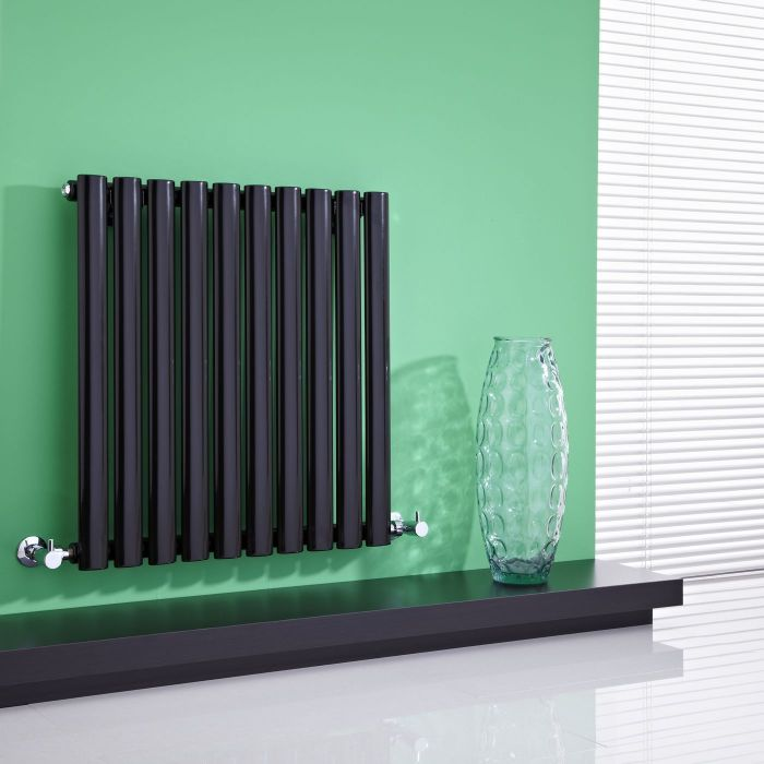 "Revive - Black Horizontal Single-Panel Designer Radiator - 25"" x 23.5"""