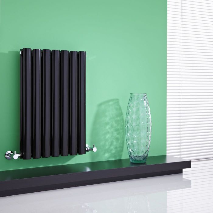 "Revive - Black Horizontal Double-Panel Designer Radiator - 25"" x 16.25"""