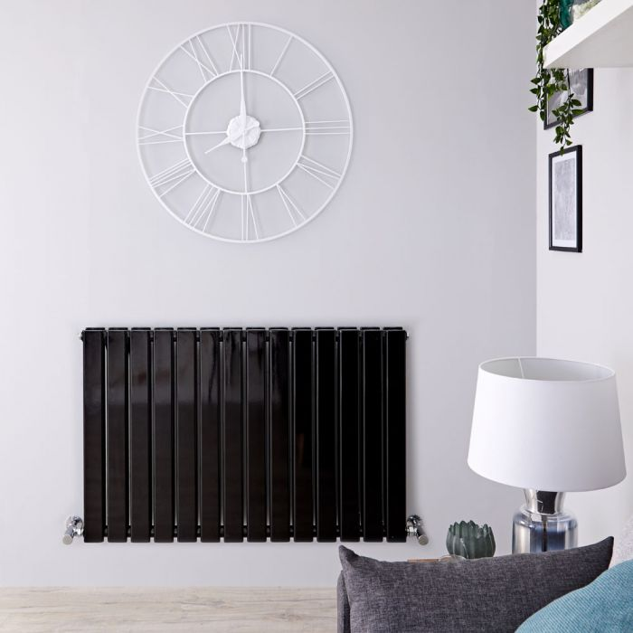 "Delta - Black Horizontal Double Slim-Panel Designer Radiator - 25"" x 38.5"""