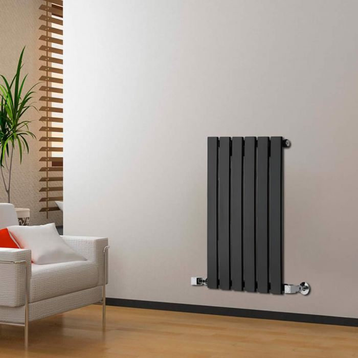 "Delta - Black Horizontal Single Slim-Panel Designer Radiator - 25"" x 16.5"""