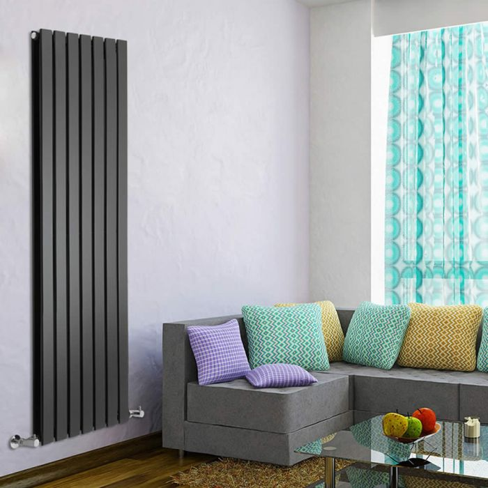 "Delta - Black Vertical Double Slim-Panel Designer Radiator - 63"" x 19.25"""