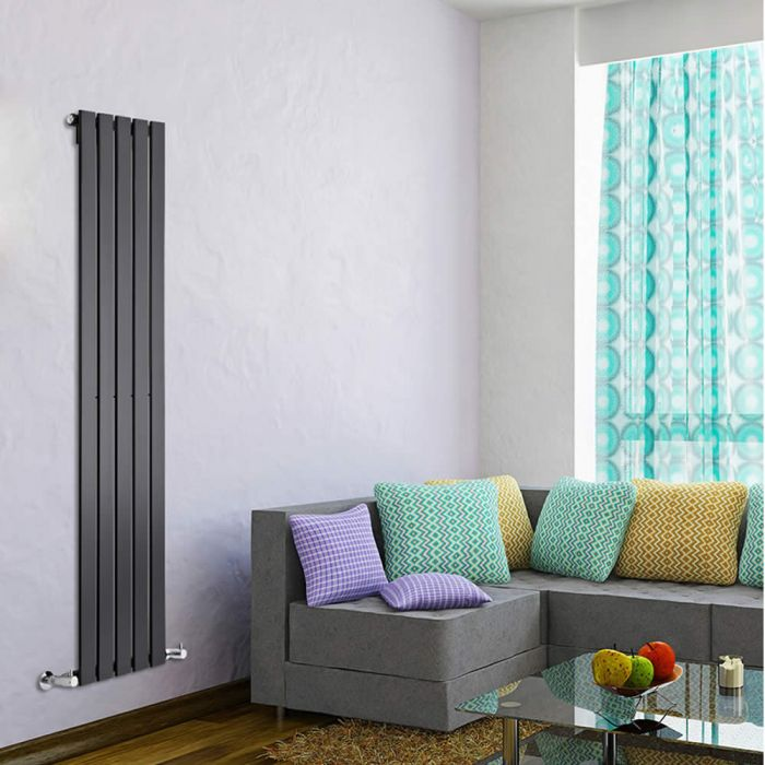 "Delta - Black Vertical Single Slim-Panel Designer Radiator - 63"" x 13.75"""