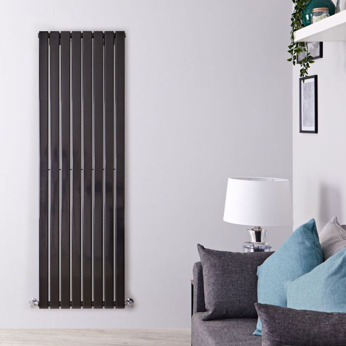 Delta - Black Vertical Single Slim-Panel Designer Radiator - 63