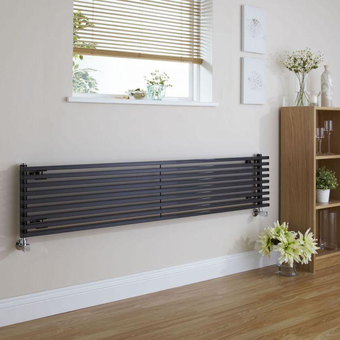 "Fin - Black Horizontal Single-Panel Designer Radiator - 13.5"" x 63"""