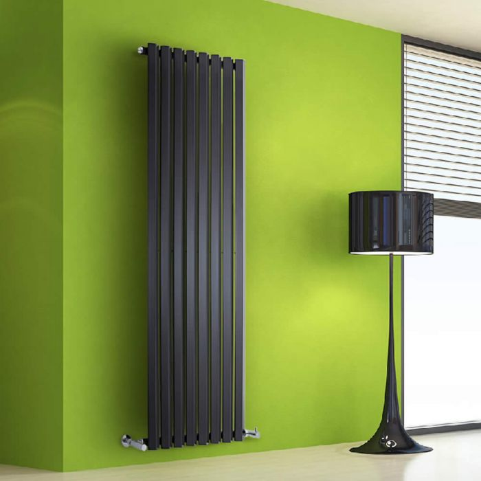 "Edifice - Black Vertical Single-Panel Designer Radiator - 63"" x 22"""