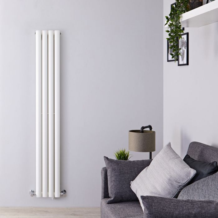 "Revive - White Vertical Double-Panel Designer Radiator - 63"" x 9.25"""