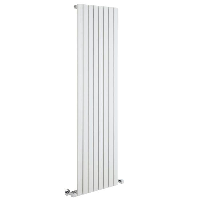"""Sloane - White Vertical Single Flat-Panel Designer Radiator - 63"""" x 18.5"""""""