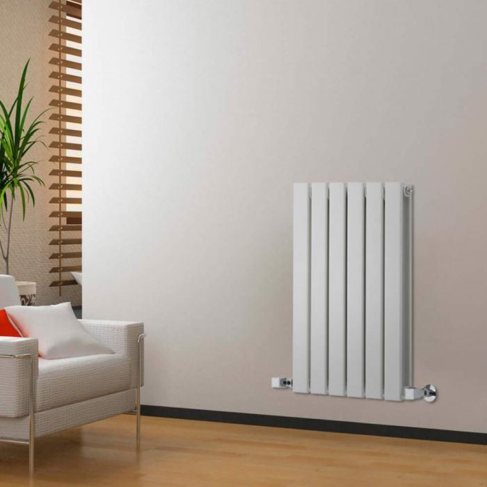 "Delta - White Horizontal Double Slim-Panel Designer Radiator - 25"" x 16.5"""