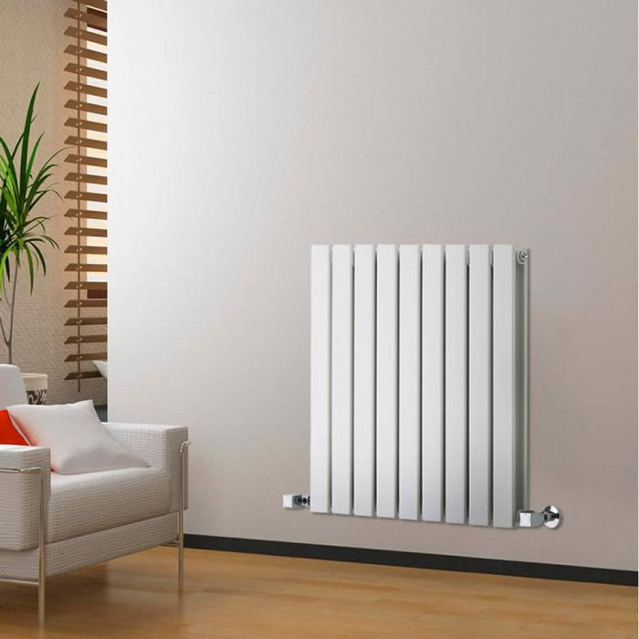 Delta - White Horizontal Double Slim-Panel Designer Radiator - 25