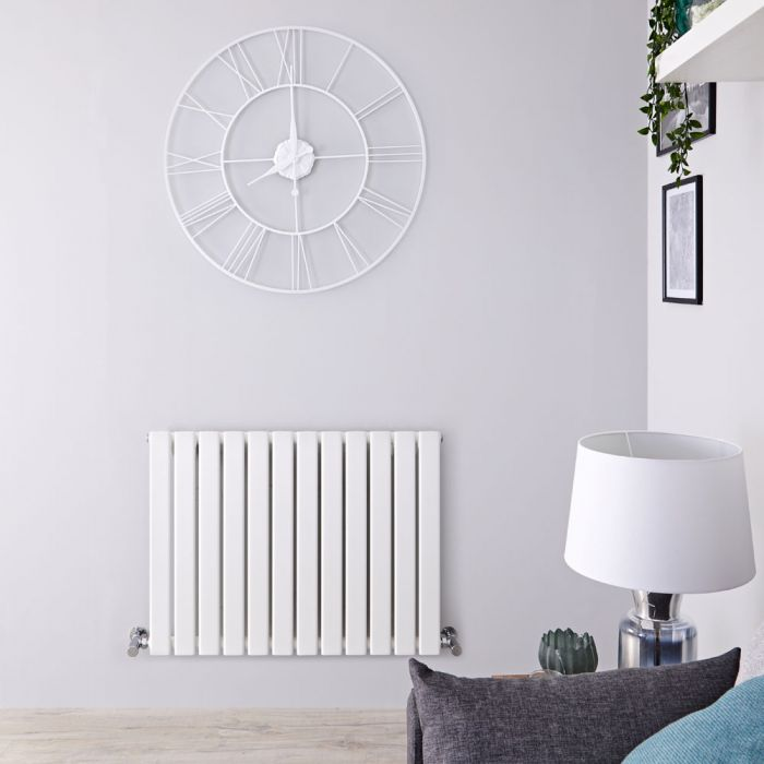 Delta - White Horizontal Single Slim-Panel Designer Radiator - 25