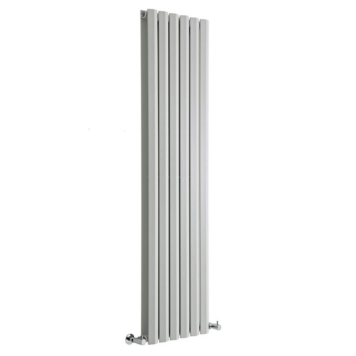 "Edifice - White Vertical Double-Panel Designer Radiator - 63"" x 16.5"""