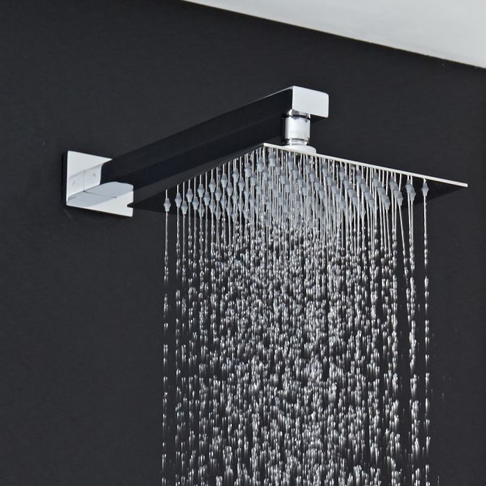 "8"" Square Shower Head with Rectangular Wall Arm"