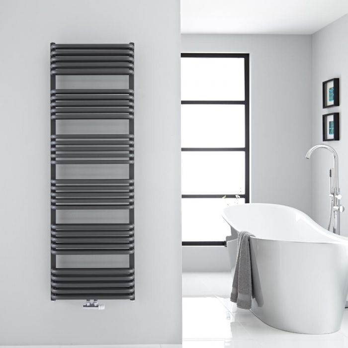 "Arch - Anthracite Hydronic Heated Towel Warmer - 60.25"" x 19.75"""