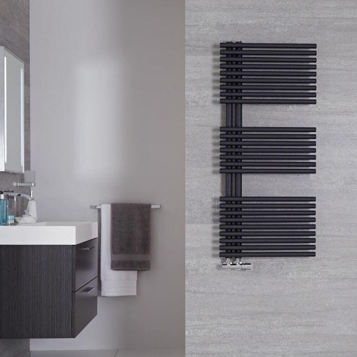 "Iseo - Anthracite Hydronic Designer Towel Warmer - 44"" x 19.75"""
