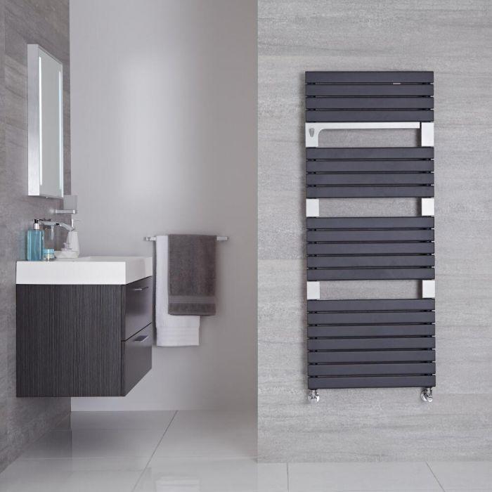 "Seina - Anthracite Hydronic Designer Towel Warmer - 53.5"" x 21.75"""