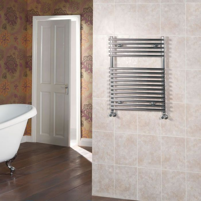 "Ischia - Hydronic Chrome Heated Towel Warmer - 29.5"" x 17.75"""