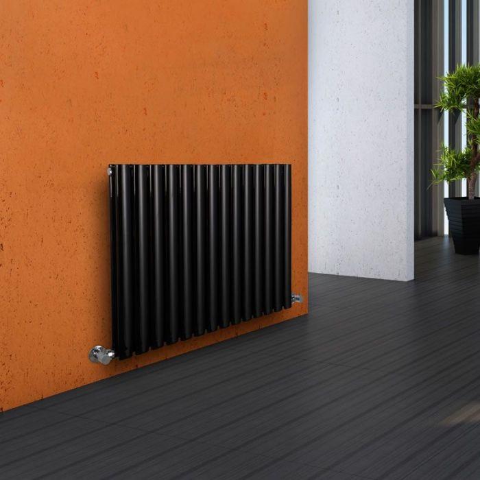 "Revive - Black Horizontal Double-Panel Designer Radiator - 25"" x 32.75"""