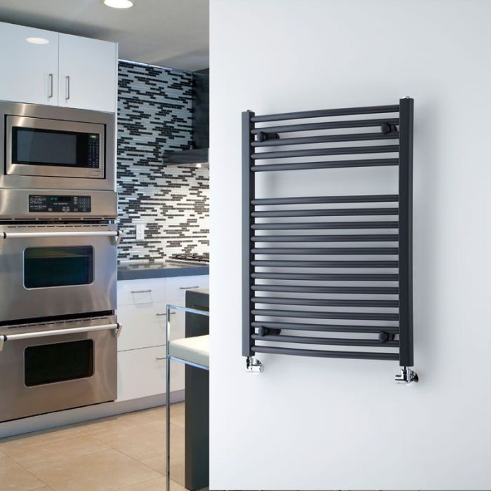 """Loa - Hydronic Anthracite Curved Heated Towel Warmer - 31.5"""" x 23.5"""""""