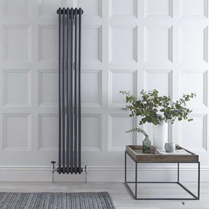"Regent - Anthracite Vertical 3-Column Traditional Cast-Iron Style Radiator - 70.75"" x 11.5"""