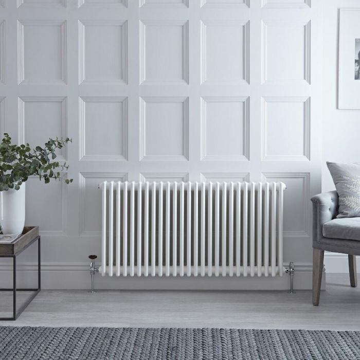 "Regent - White Horizontal 4-Column Traditional Cast-Iron Style Radiator - 23.5"" x 46"""