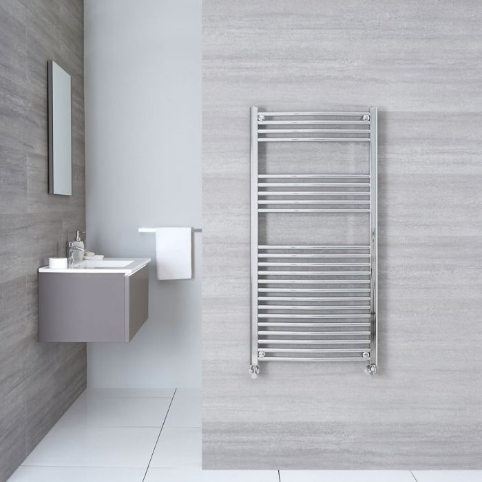 "Linosa - Hydronic Chrome Curved Heated Towel Warmer - 47.25"" x 23.5"""
