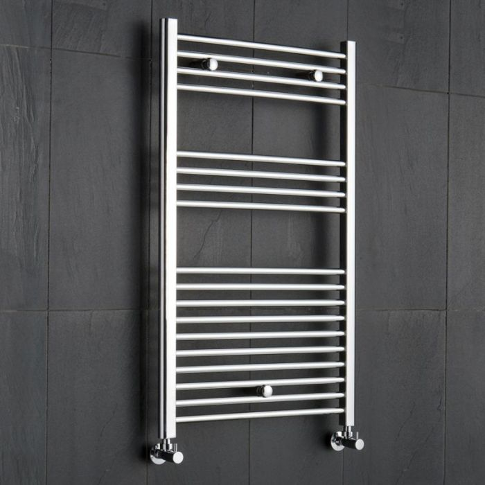 "Linosa - Hydronic Chrome Flat Heated Towel Warmer - 39.25"" x 23.5"""