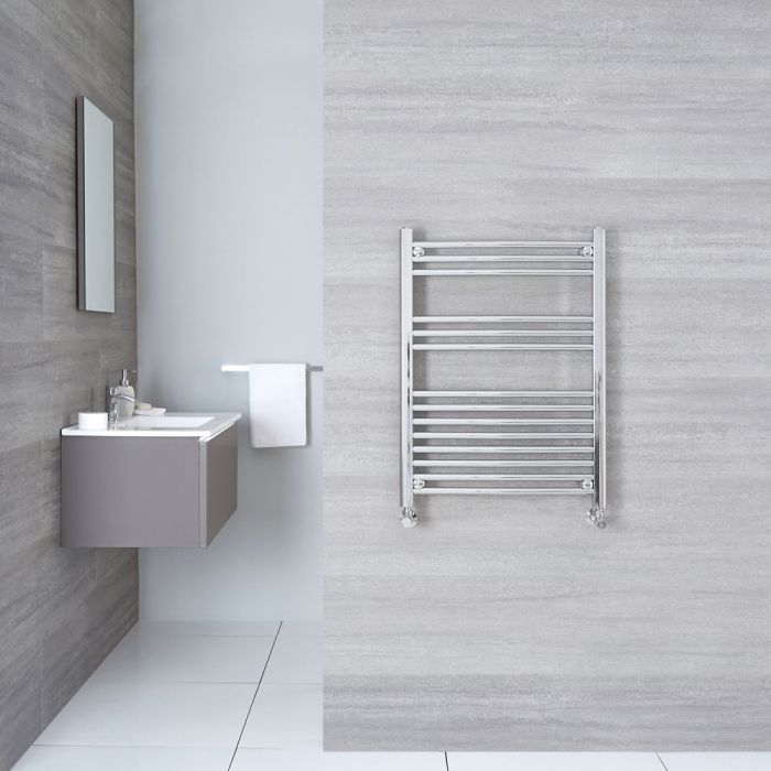 "Linosa - Hydronic Chrome Curved Heated Towel Warmer - 31.5"" x 23.5"""