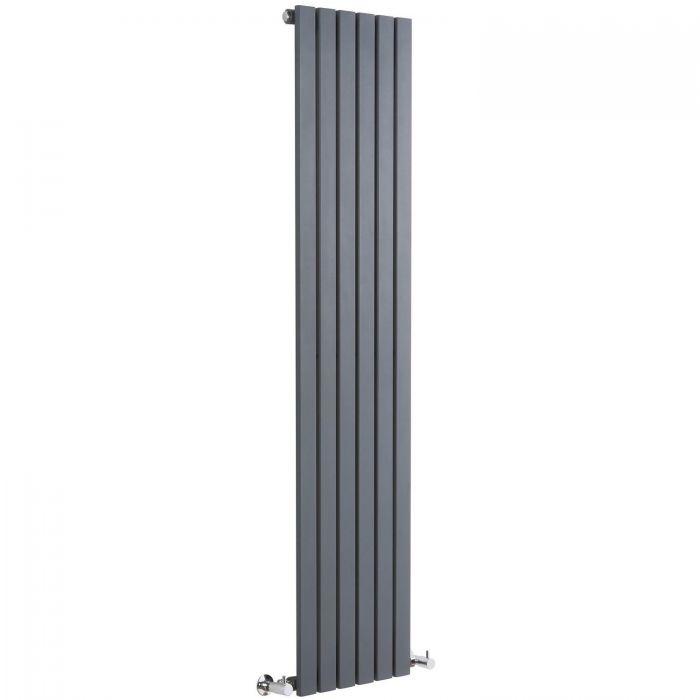 "Sloane - Anthracite Vertical Single Flat-Panel Designer Radiator - 70"" x 14"""