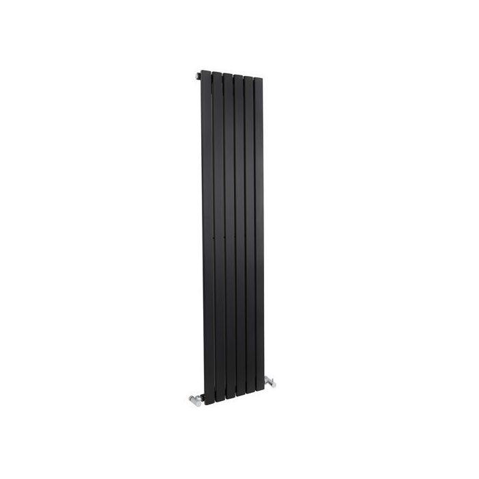 "Sloane - Black Vertical Single Flat-Panel Designer Radiator - 63"" x 14"""