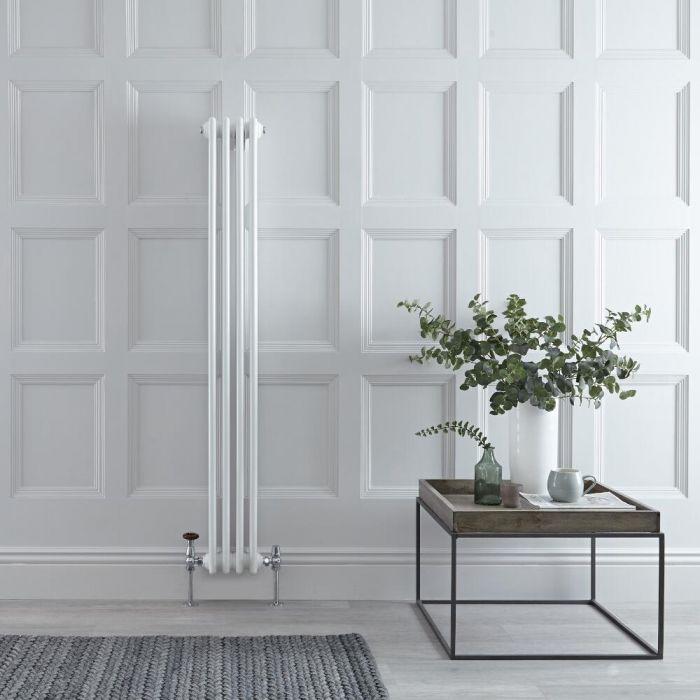 "Regent - White Vertical 3-Column Traditional Cast-Iron Style Radiator - 59"" x 8"""
