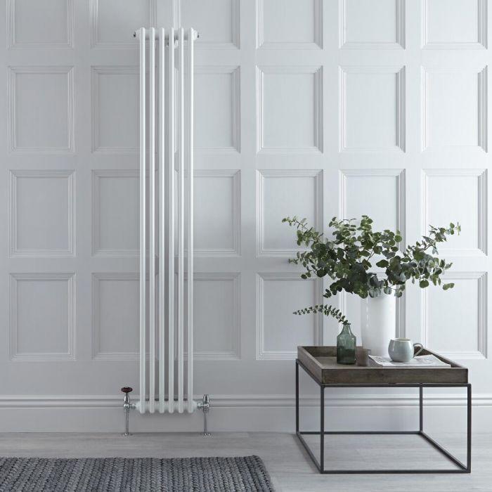 "Regent - White Vertical 2-Column Traditional Cast-Iron Style Radiator - 70.75"" x 11.5"""