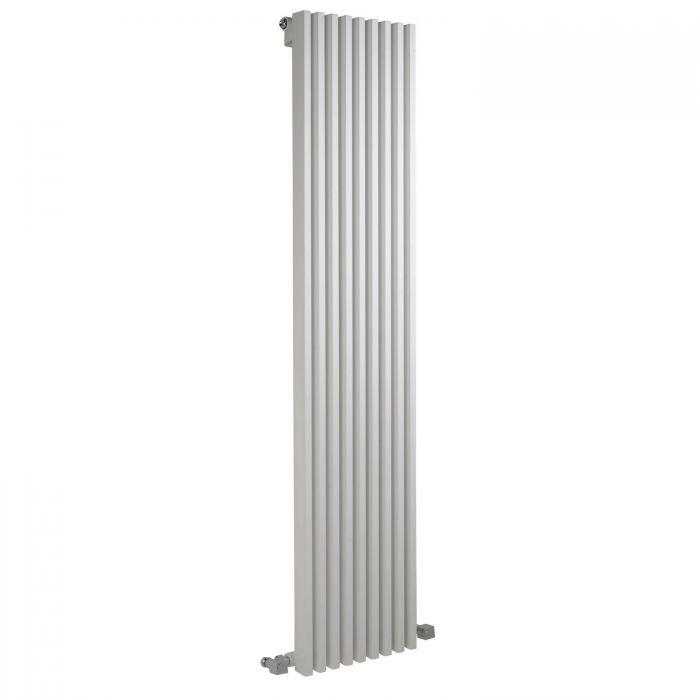 """Fin - White Vertical Single-Panel Designer Radiator - 63"""" x 13.5"""""""
