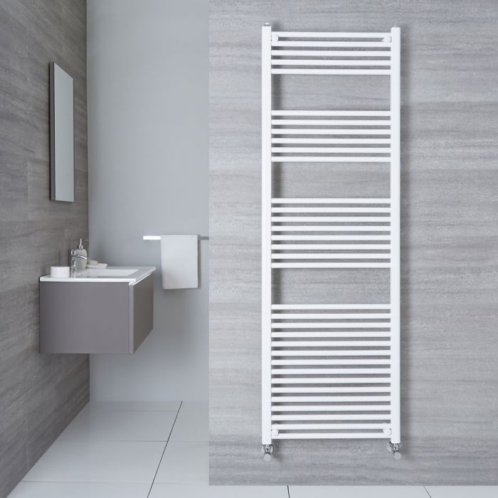 Etna - Hydronic White Flat Heated Towel Warmer - 70.75
