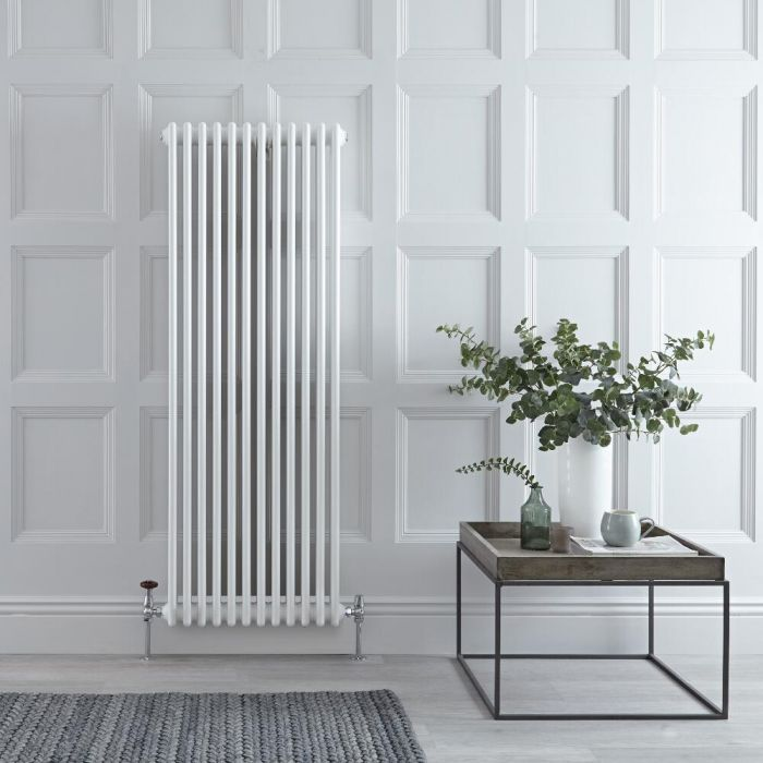 Regent - White Vertical 3-Column Traditional Cast-Iron Style Radiator - 59