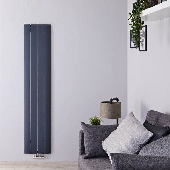 """Aurora - Anthracite Aluminum Vertical Designer Radiator - 63"""" x 14.75"""""""