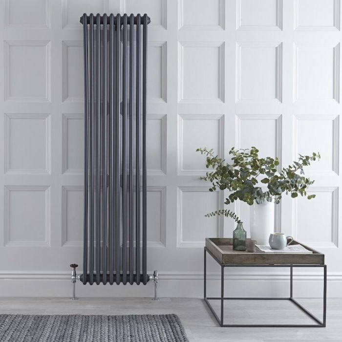 "Regent - Anthracite Vertical 3-Column Traditional Cast-Iron Style Radiator - 70.75"" x 17.75"""