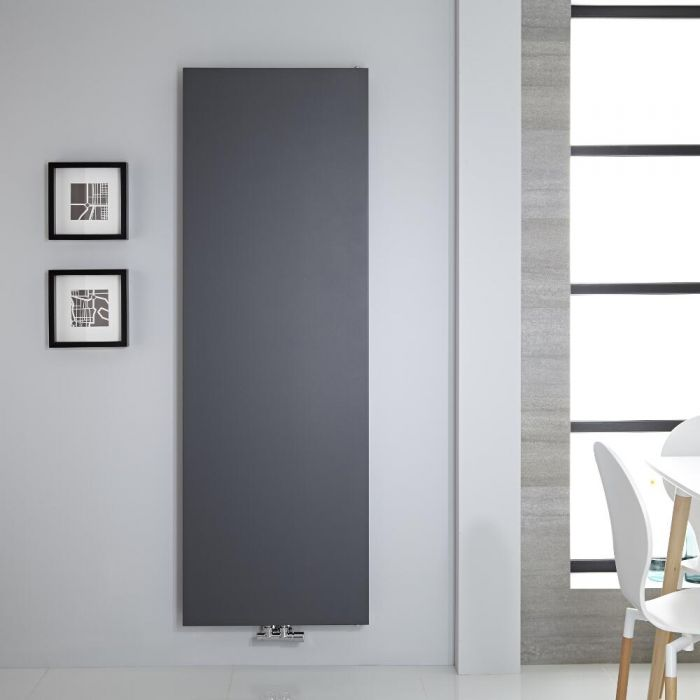 "Vivara - Anthracite Vertical Flat-Panel Designer Radiator - 70.75"" x 23.5"""