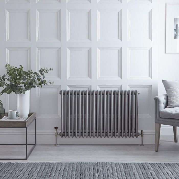 Regent - Raw Metal Lacquered Horizontal 3-Column Traditional Cast-Iron Style Radiator - 23.5'' x 40''