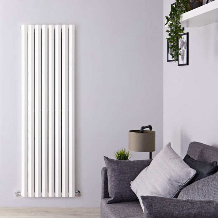 "Edifice - White Vertical Double-Panel Designer Radiator - 63"" x 22"""