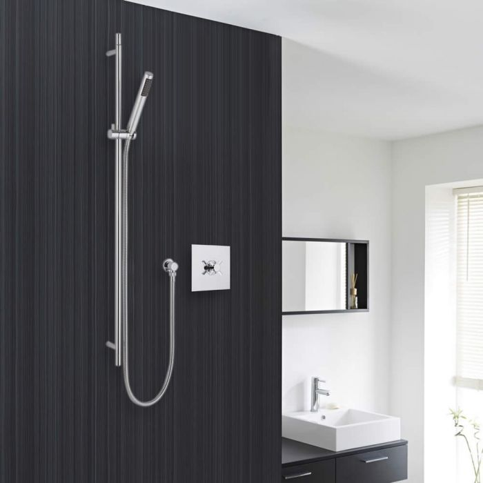 Modern Chrome Concealed Shower System with Minimalist Easy-Clean Handset