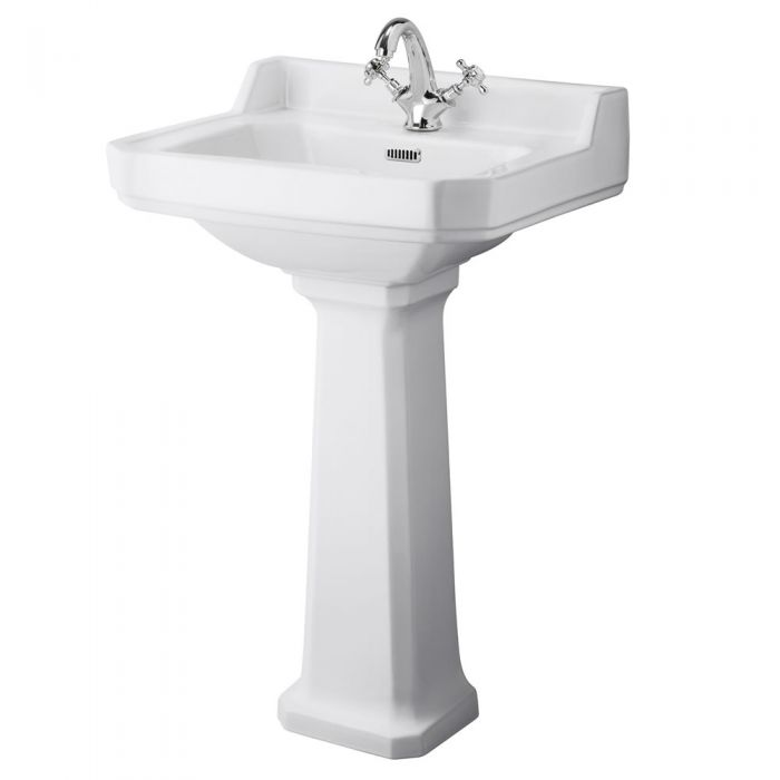 Traditional Carlton  Porcelain Sink and Pedestal 23""